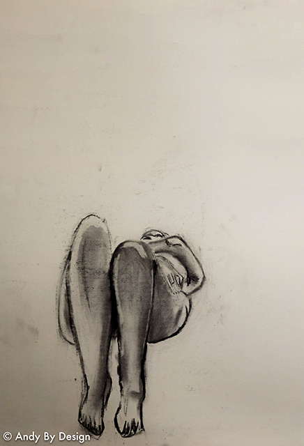Life Drawing, charcoal